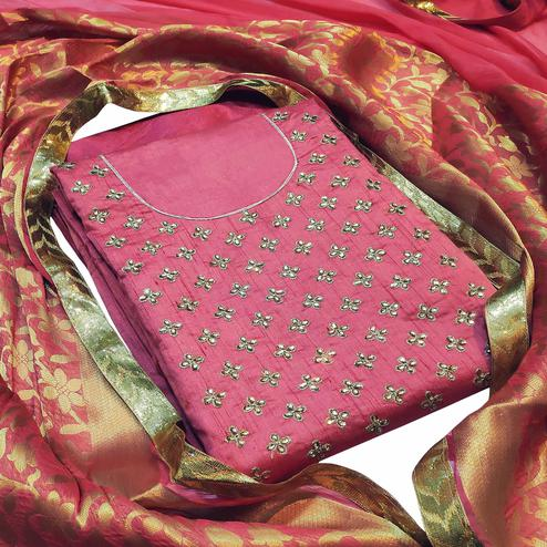 Appealing Pink Colored Partywear Embroidered Silk Dress Material With Banarasi Silk Dupatta