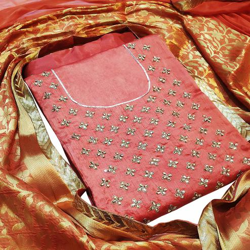 Entrancing Gajri Colored Partywear Embroidered Silk Dress Material With Banarasi Silk Dupatta