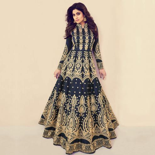 Adorable Navy Blue Colored Partywear Embroidered Banarasi Silk Anarkali Suit