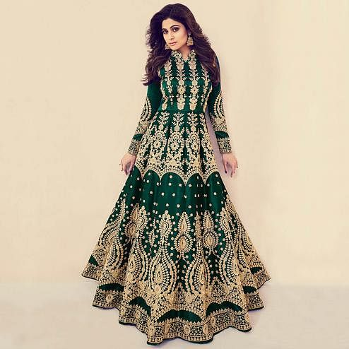 Glorious Green Colored Partywear Embroidered Banarasi Silk Anarkali Suit