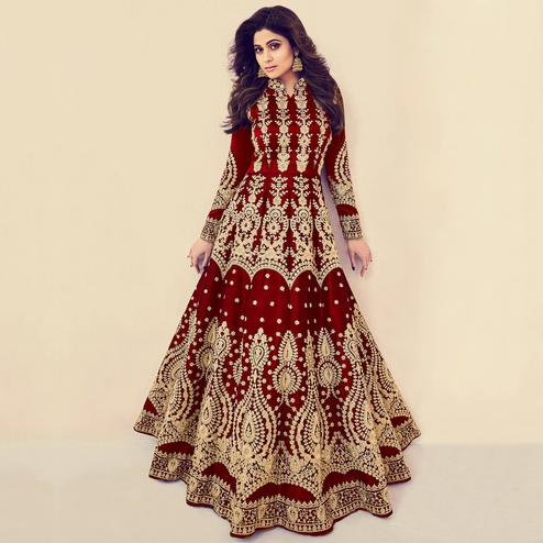 Attractive Red Colored Partywear Embroidered Banarasi Silk Anarkali Suit