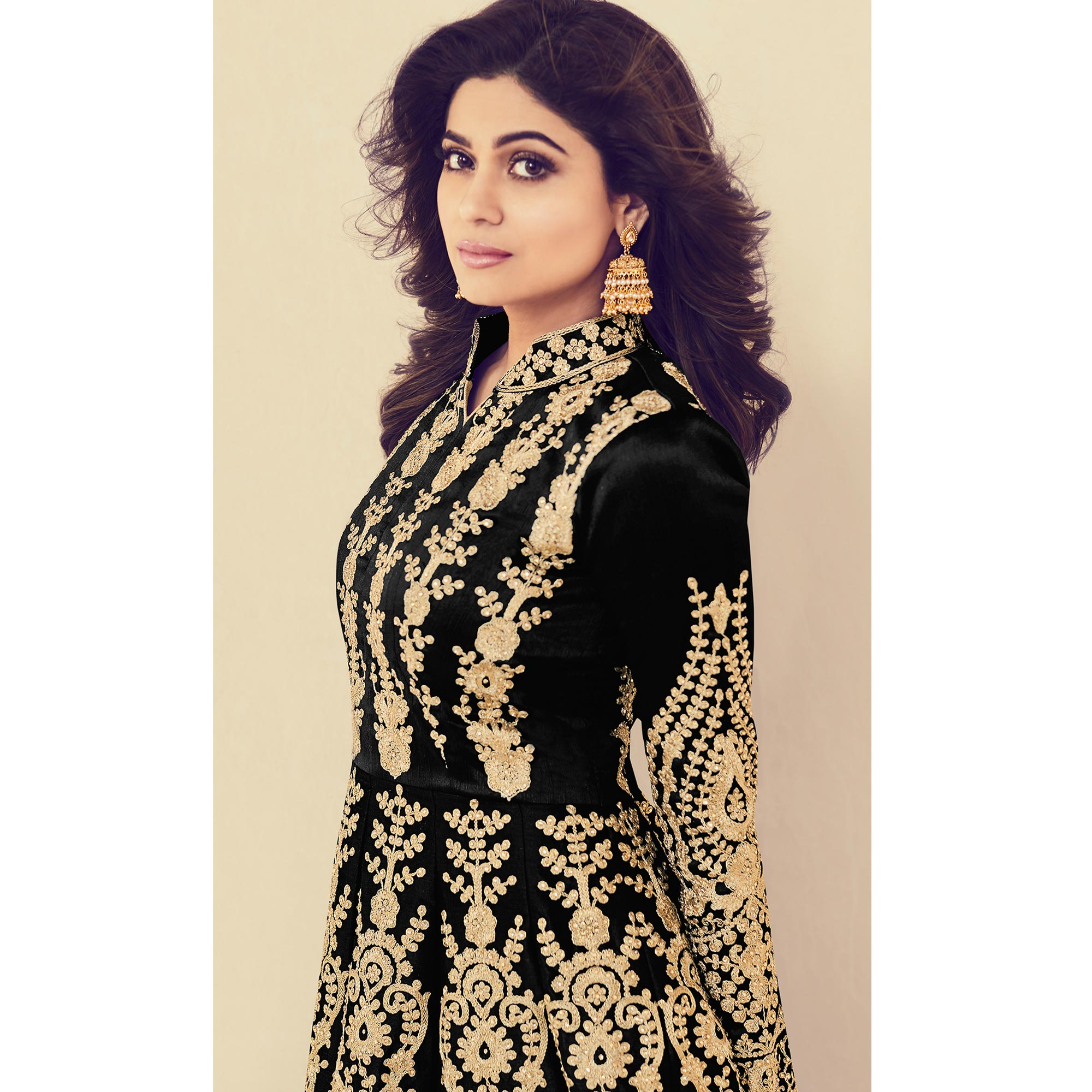 Graceful Black Colored Partywear Embroidered Banarasi Silk Anarkali Suit