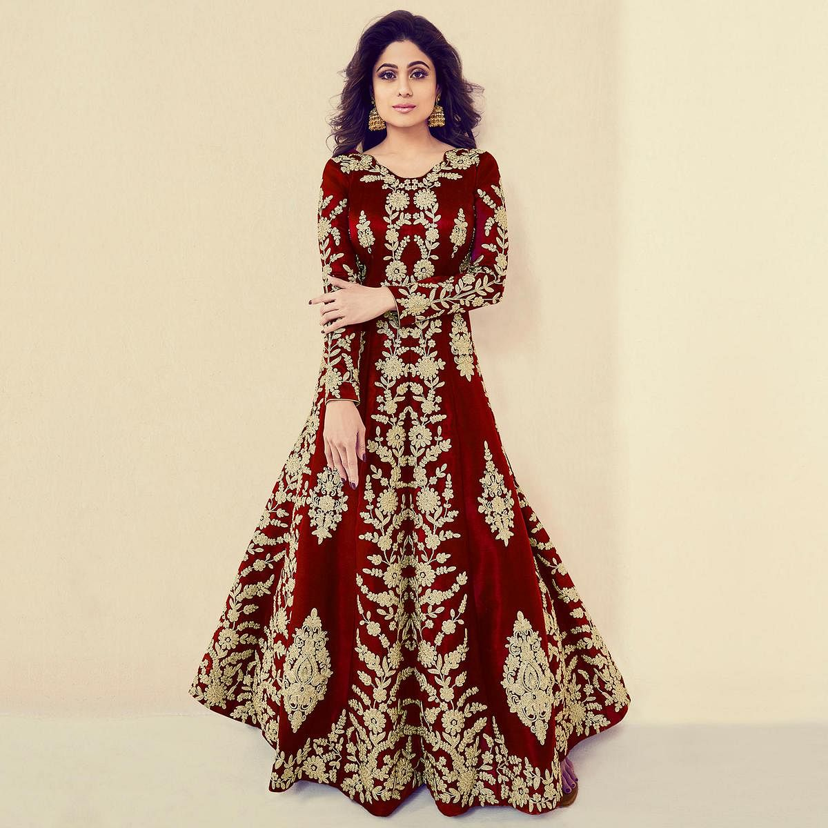 Jazzy Red Colored Partywear Embroidered Banarasi Silk Anarkali Suit