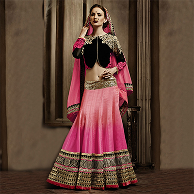 Pink - Black Lehenga Choli with Dupatta