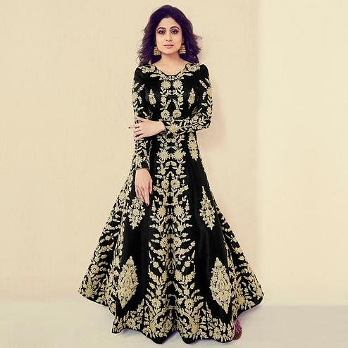 Engrossing Black Colored Partywear Embroidered Banarasi Silk Anarkali Suit
