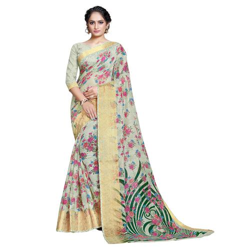 Adorable Green Colored Casual Printed Linen Saree