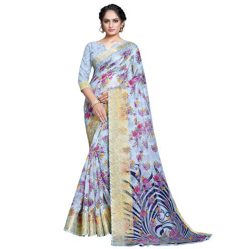 Glorious Sky Blue Colored Casual Printed Linen Saree