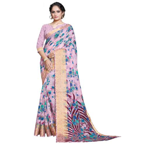 Beautiful Pink Colored Casual Printed Linen Saree