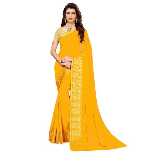 Blooming Yellow Colored Casual Woven Georgette Saree