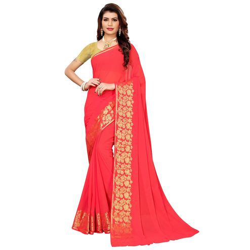 Charming Pink Colored Casual Woven Georgette Saree