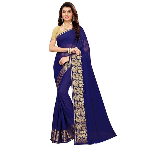 Jazzy Navy Blue Colored Casual Woven Georgette Saree