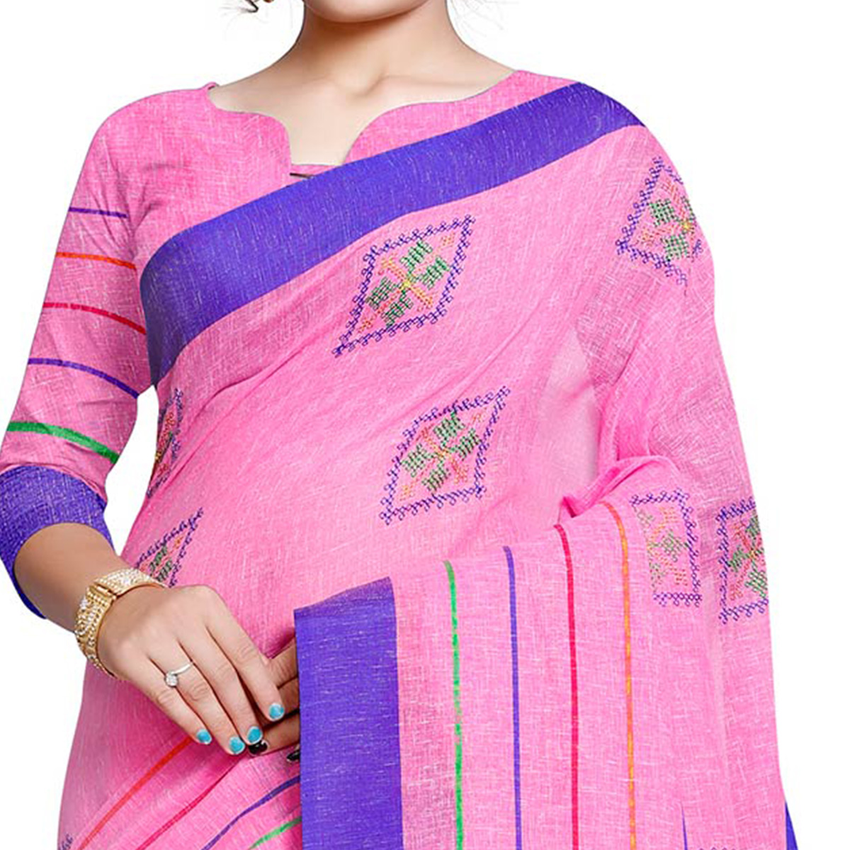 Engrossing Pink Colored Festive Wear Embroidered Linen Saree