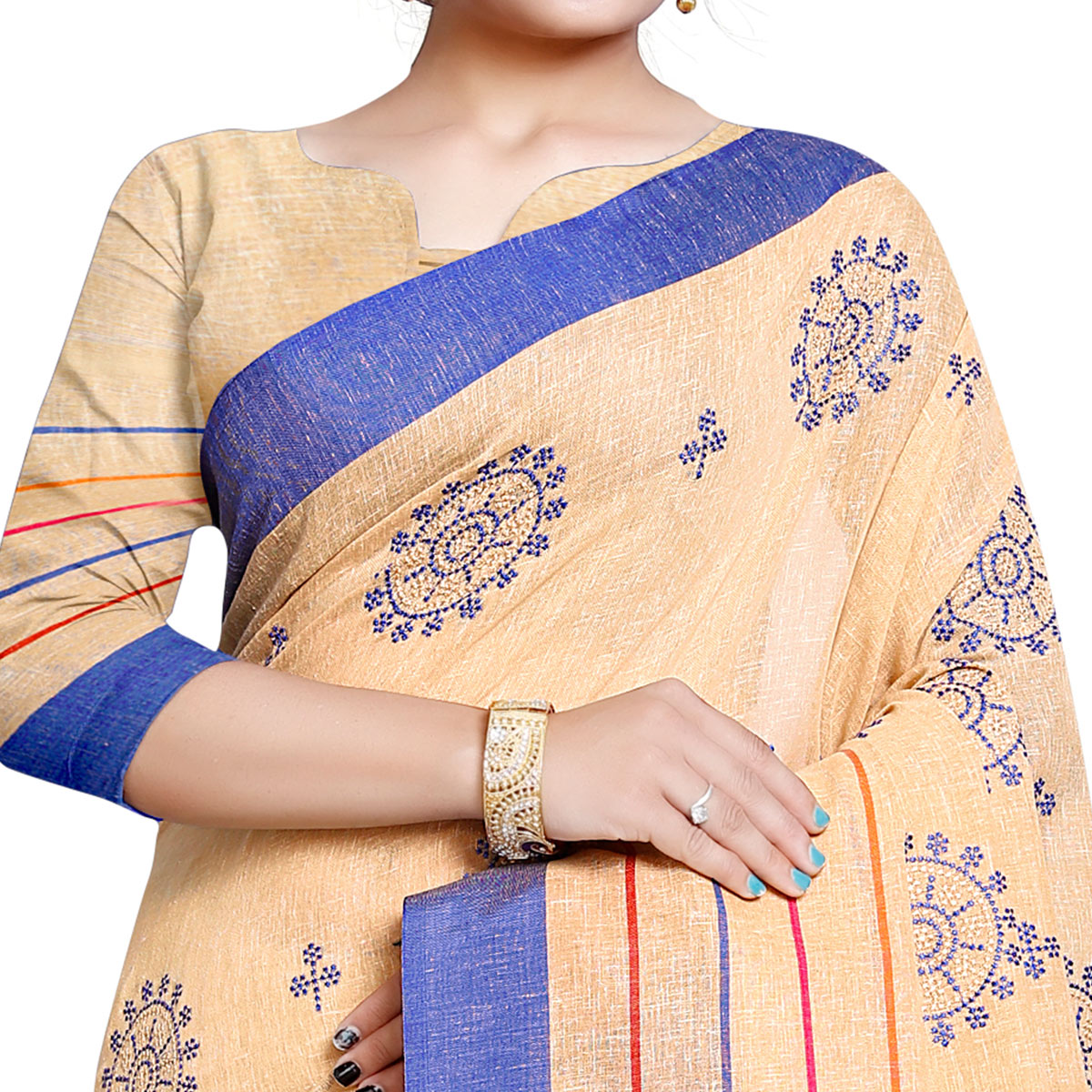 Captivating Beige Colored Festive Wear Embroidered Linen Saree