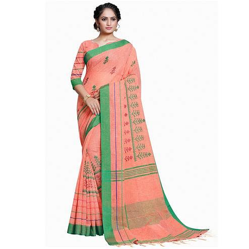 Innovative Peach Colored Festive Wear Embroidered Linen Saree