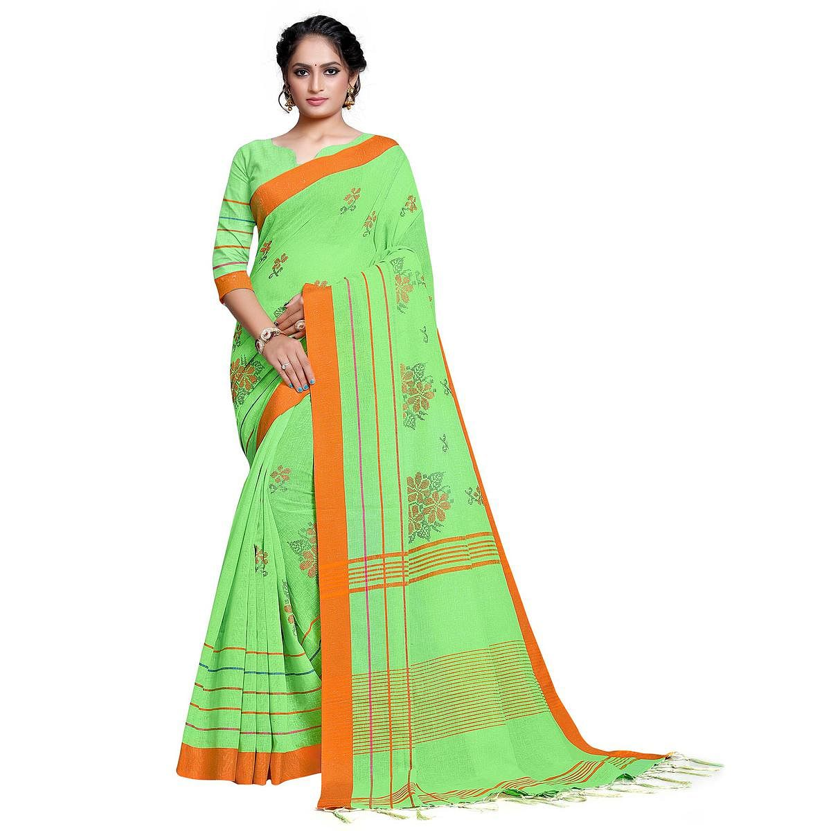 Eye-catching Green Colored Festive Wear Embroidered Linen Saree