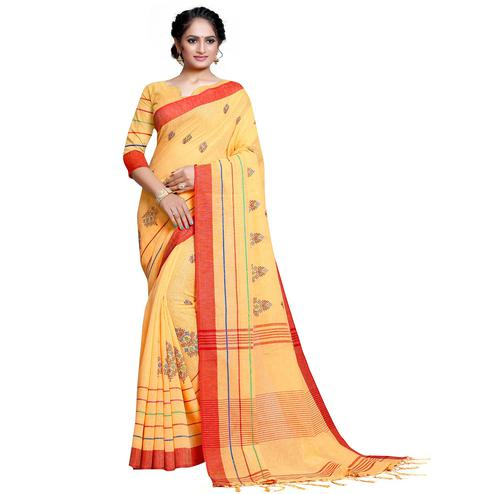 Fantastic Yellow Colored Festive Wear Embroidered Linen Saree