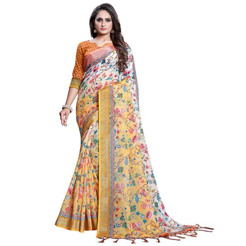 Amazing Yellow-White Colored Casual Printed Pure Linen Saree