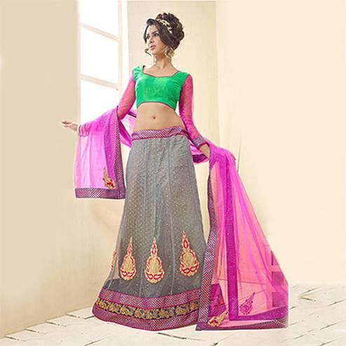 Grey Embroidered Work Anarkali / Lehenga