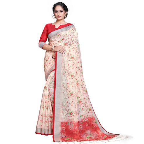 Gorgeous White-Red Colored Casual Printed Pure Linen Saree
