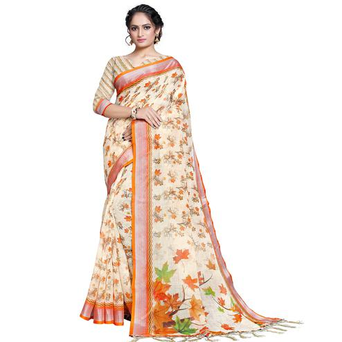 Blissful White-Orange Colored Casual Printed Pure Linen Saree