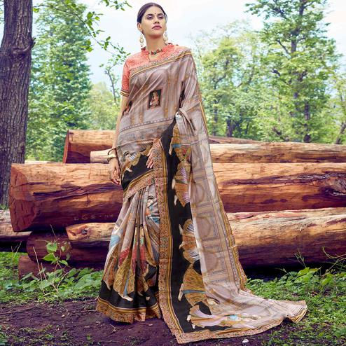 Engrossing Grey Colored Casual Wear Digital Printed Tussar Silk Saree