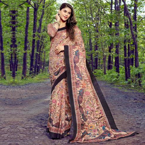 Captivating Beige Colored Casual Printed Tussar Silk Saree