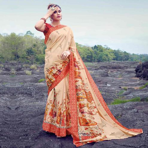 Delightful Cream Colored Casual Printed Tussar Silk Saree