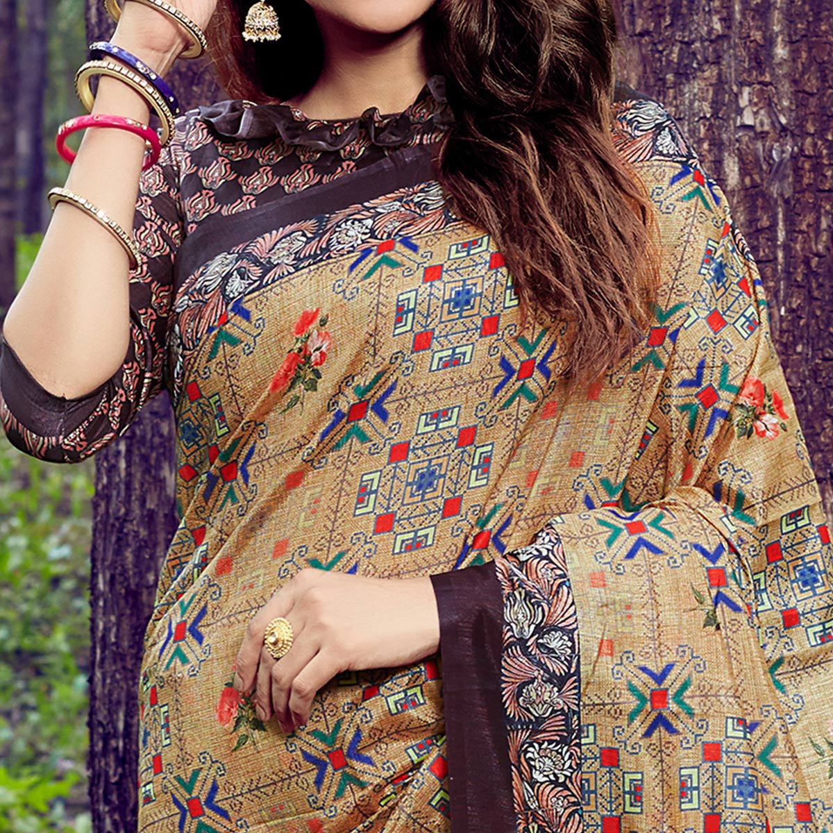 Innovative Beige Colored Casual Wear Digital Printed Tussar Silk Saree