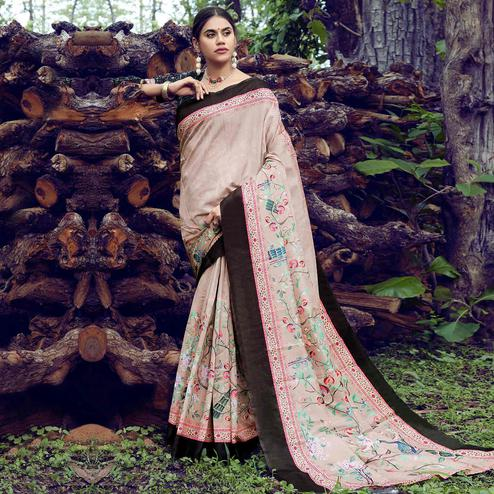 Eye-catching Off White Colored Casual Printed Tussar Silk Saree