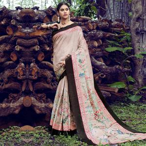 Eye-catching Off White Colored Casual Wear Digital Printed Tussar Silk Saree