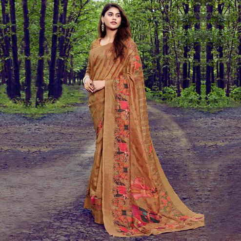Fantastic Light Brown Colored Casual Printed Tussar Silk Saree