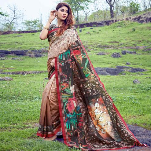 Amazing Brown-Cream Colored Casual Wear Digital Printed Tussar Silk Saree