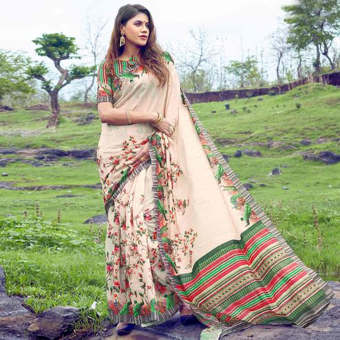Gorgeous Cream Colored Casual Wear Digital Printed Tussar Silk Saree