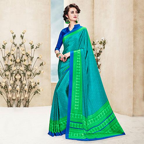 Green Casual Wear Printed Saree