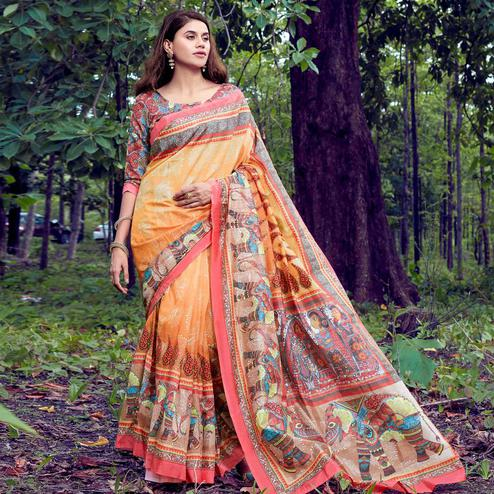 Blissful Yellow-Red Colored Casual Wear Digital Printed Tussar Silk Saree