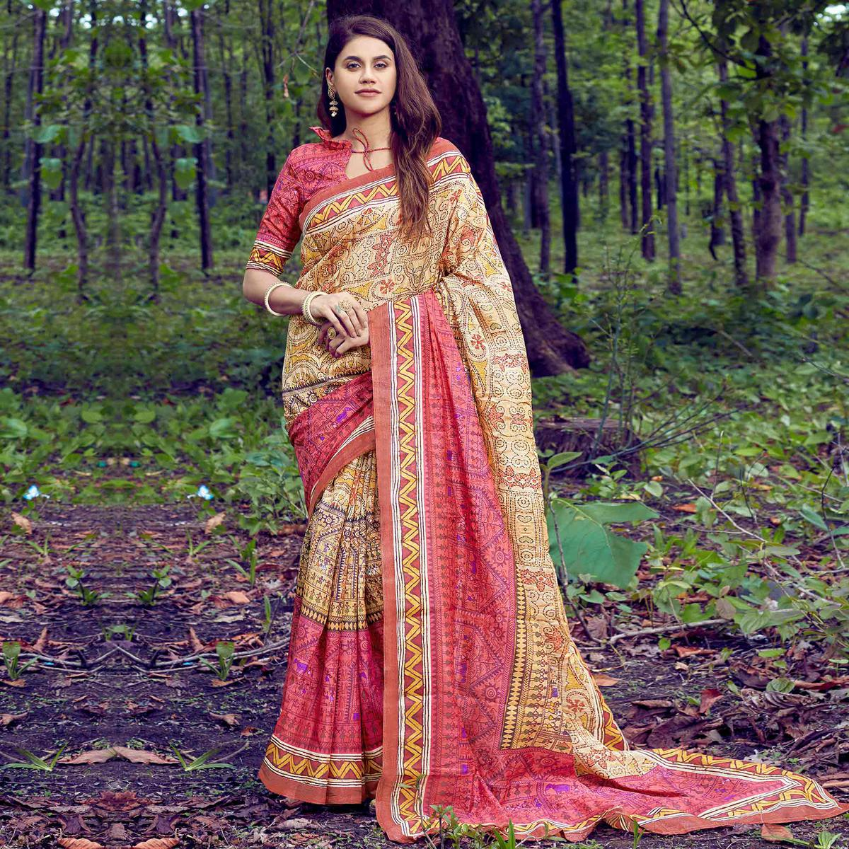 Ideal Beige-Red Colored Casual Wear Digital Printed Tussar Silk Saree