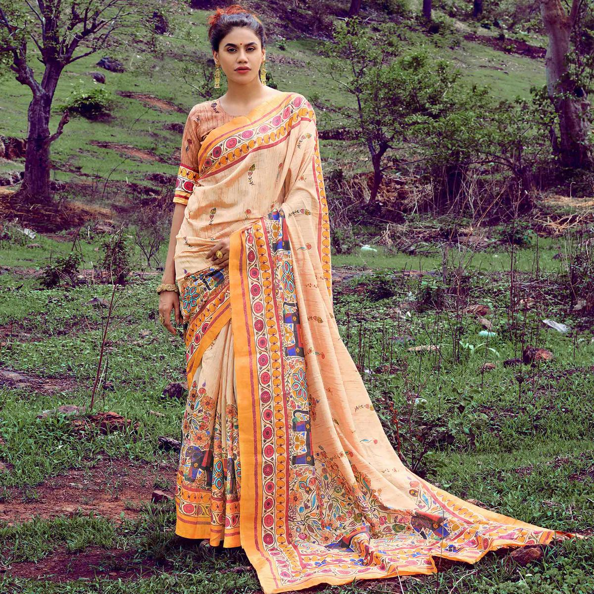 Lovely Cream-Yellow Colored Casual Wear Digital Printed Tussar Silk Saree