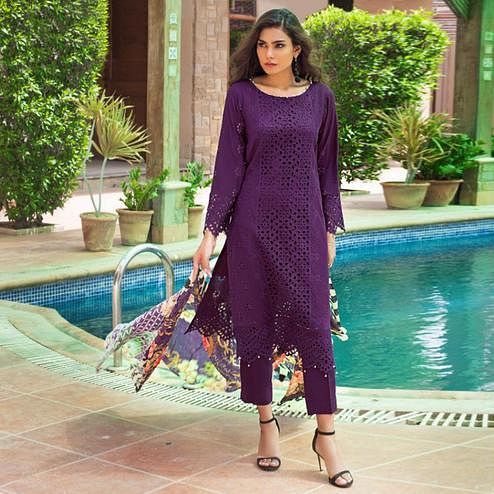 Flattering Dark Purple Colored Partywear Schiffli Work Cotton Pant Style Suit