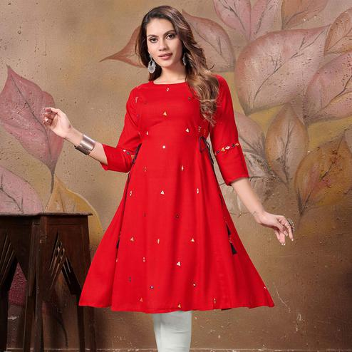 Radiant Red Colored Partywear Embroidered Cotton Kurti