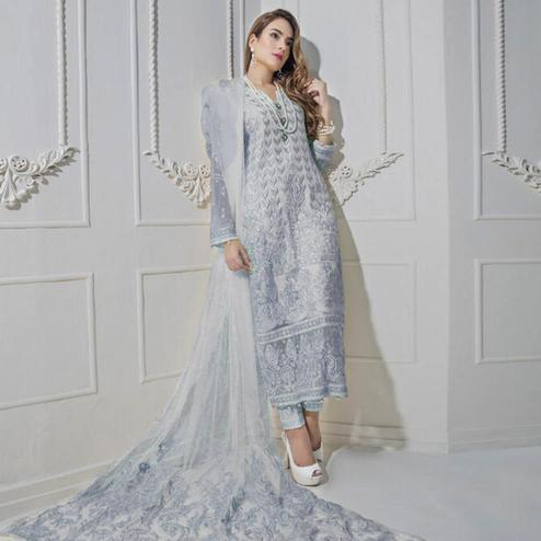 Hypnotic Grey Colored Partywear Embroidered Net Suit