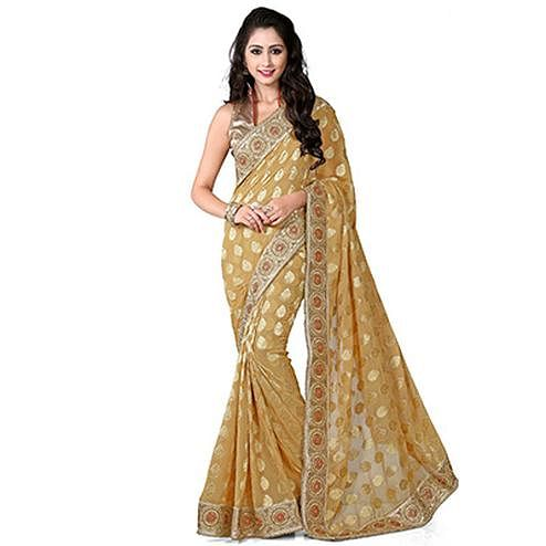 Golden Viscos Jacquard Saree