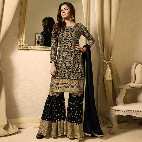 Captivating Black Colored Partywear Embroidered Georgette Palazzo Suit