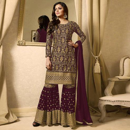 Innovative Purple Colored Partywear Embroidered Georgette Palazzo Suit