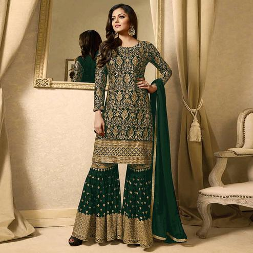 Eye-catching Green Colored Partywear Embroidered Georgette Palazzo Suit