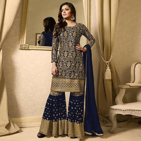 Fantastic Navy Blue Colored Partywear Embroidered Georgette Palazzo Suit