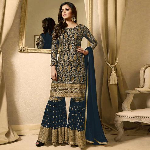Gorgeous Teal Blue Colored Partywear Embroidered Georgette Palazzo Suit