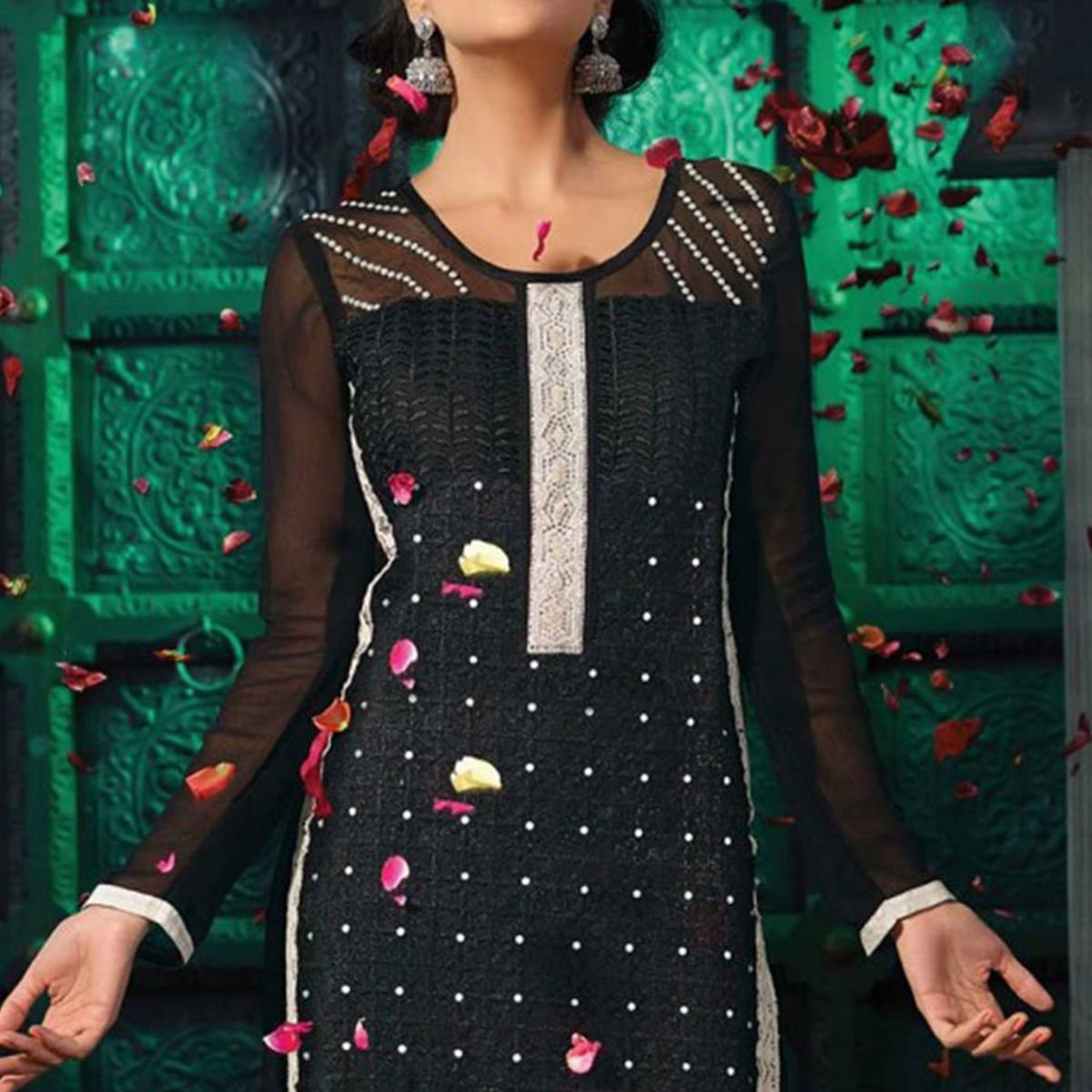 Black Embroidered Work Straight Cut Suit