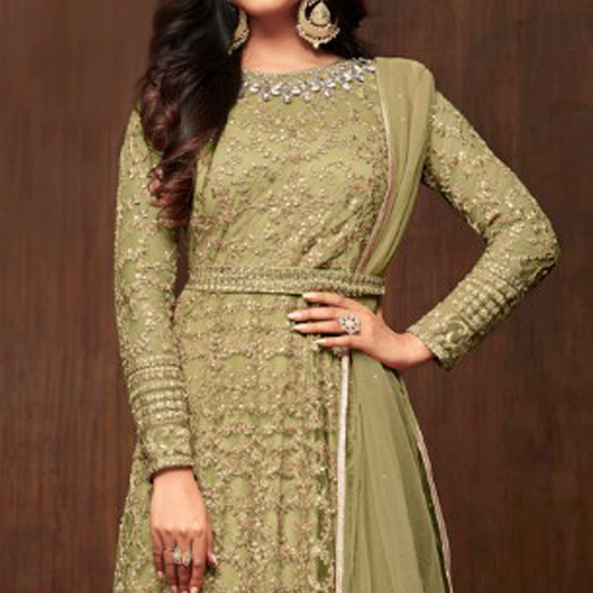 Ideal Olive Green Colored Partywear Embroidered Netted Anarkali Suit