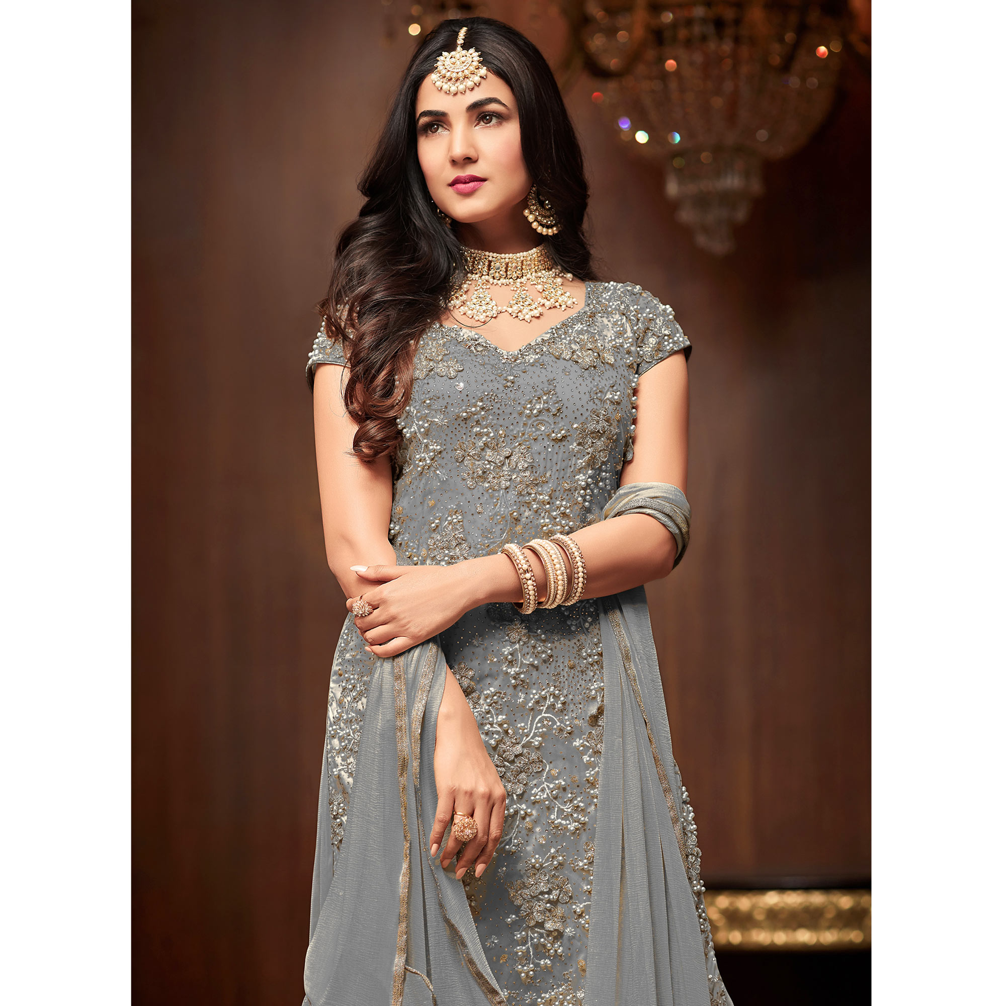 Ravishing Slate Gray Colored Partywear Embroidered Netted Palazzo Suit