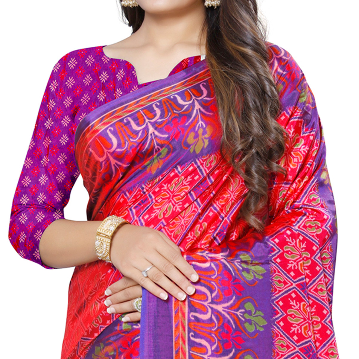 Magnetic Pink Colored Casual Printed Art Silk Saree